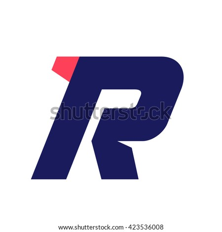 R letter run logo design template. Vector sport style typeface for sportswear, sports club, app icon, corporate identity, labels or posters. - stock vector