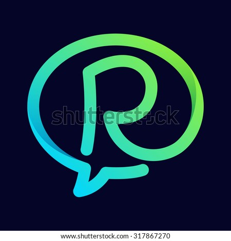 R letter with speech bubble line logo. Abstract trendy letter multicolored vector design template elements for your application or corporate identity. - stock vector