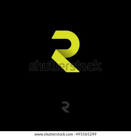 R Logo. R Monogram. Yellow Origami Letter On Dark Background.