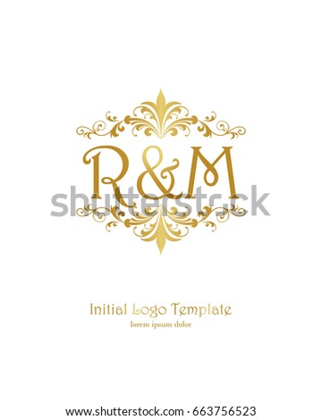 R M Initial Wedding Logo Template Stock Vector HD Royalty Free