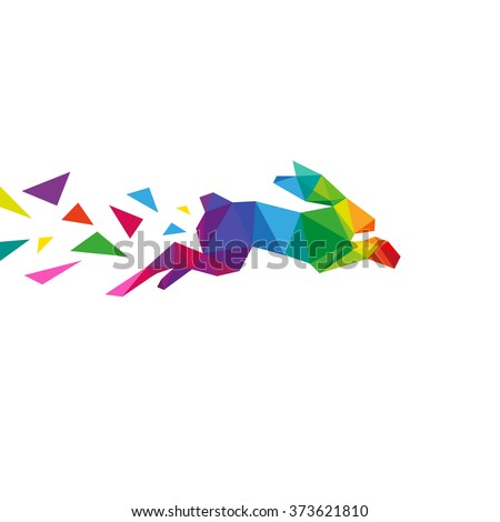 Rabbit abstract triangle design concept element isolated on a white backgrounds, vector illustration - stock vector
