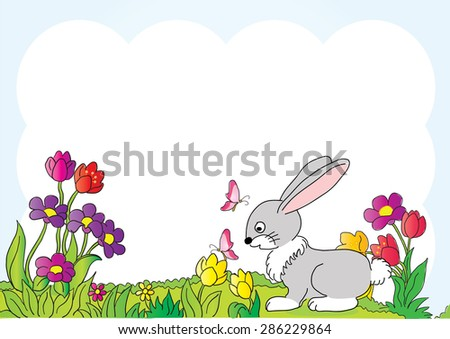rabbit and butterfly in the background
