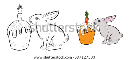 Rabbit Cake Carrot Coloring Page Children Stock Vector (2018 ...