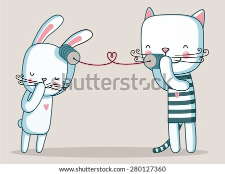 rabbit and cat talking with cup telephone - stock vector
