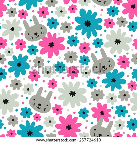 Rabbit and flower seamless pattern. Vector illustration.  - stock vector