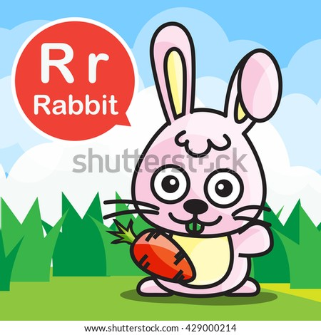 Rabbit animal cartoon and alphabet for children to learning vector illustration eps10