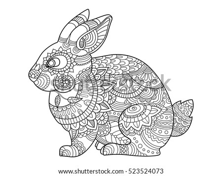 Rabbit Bunny Coloring Book Adults Vector Stock Vector 523524073 ...
