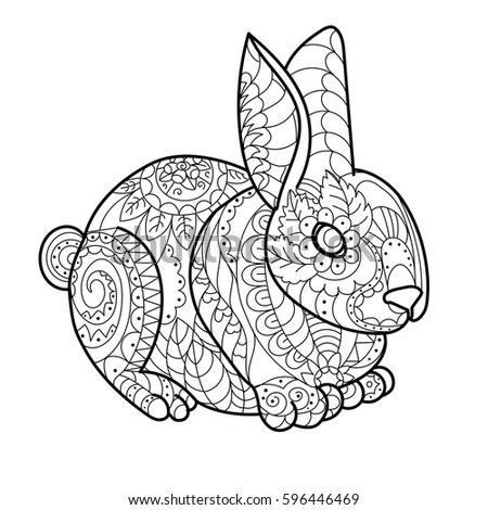 rabbit bunny coloring book vector illustration black and white lines lace pattern