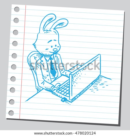 Rabbit businessman working on computer