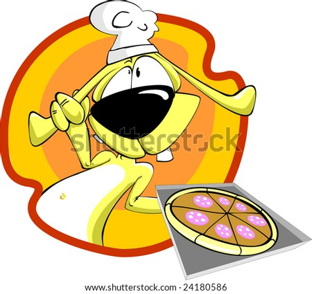 rabbit chef with  sliced pizza - stock vector