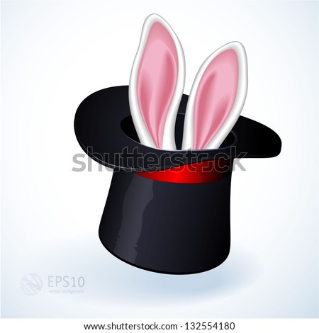 Rabbit ears appear from the magic top hat. Vector. - stock vector
