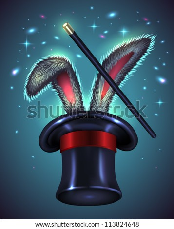 Rabbit ears appear from the magic top hat with wand on blue background - vector illustration. - stock vector