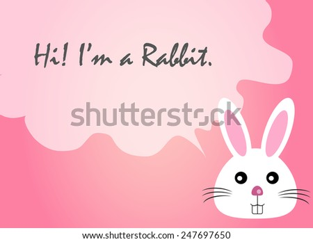 rabbit face text quote, rabbit vector, rabbit face - stock vector