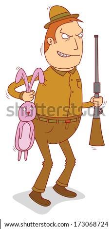 rabbit hunter - stock vector