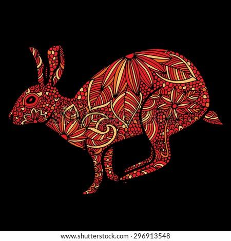 Rabbit illustration- Chinese zodiac - stock vector