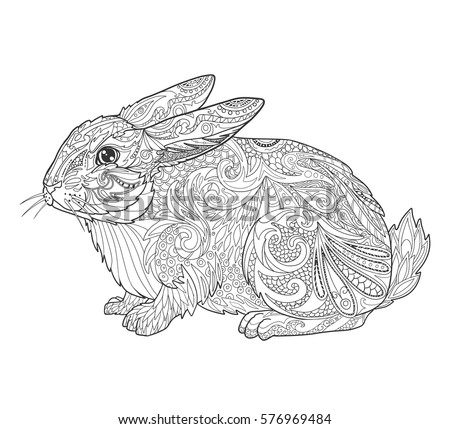 Rabbit In Doodle Style For Coloring Book Page Adult Vector Illustration Tribal Animal Isolated