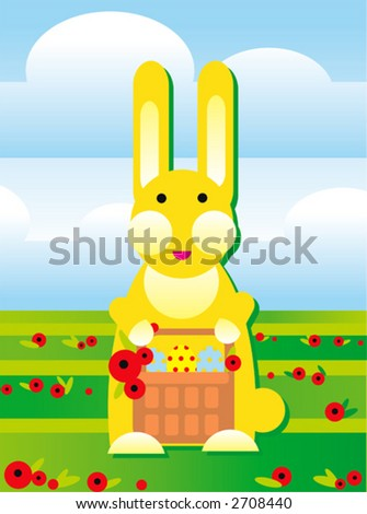 rabbit is carrins easter basket with eggs on a field - stock vector