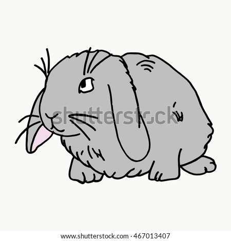 Rabbit on a white background. Cute rabbit cartoon. Abstract flat grey rabbit. Cartoon rabbit portrait isolated on black. Graphic rabbit painted in imaginary color for card, book, poster,banner. Rabbit