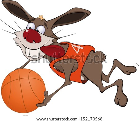Rabbit the basketball player cartoon  - stock vector