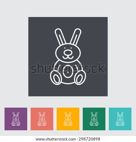 Rabbit toy thin line flat vector related icon set for web and mobile applications. It can be used as - logo, pictogram, icon, infographic element. Vector Illustration.  - stock vector