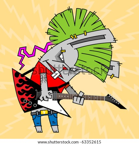 rabbit with a green Mohawk, playing the electric guitar - stock vector