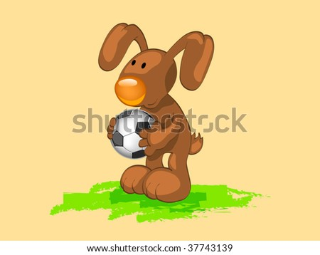 rabbit with ball - stock vector