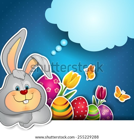 Rabbit with Easter eggs and cloud where you can insert your own text-transparency blending effects and gradient mesh-EPS10.  - stock vector