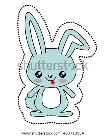 Rabbit with kawaii face icon. Cute animal cartoon and character theme. Isolated design. Vector illustration