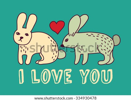 Rabbits couple with hearts. Greeting card for valentines day. Color vector illustration. EPS8 - stock vector