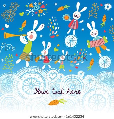 Rabbits-musicians funny postcard. Vector. - stock vector