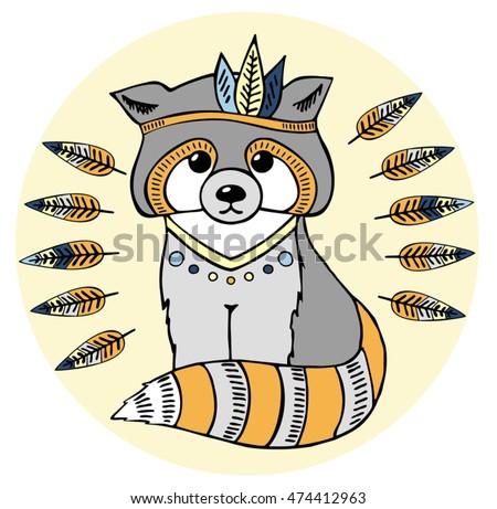 Raccoon aztec style, hand drawn animal illustration, native american poster,  t-shirt