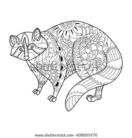 Zentangle Stylized Cartoon Rhino Rhinoceros Isolated Stock