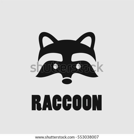raccoon face logo simple black vector icon on white background