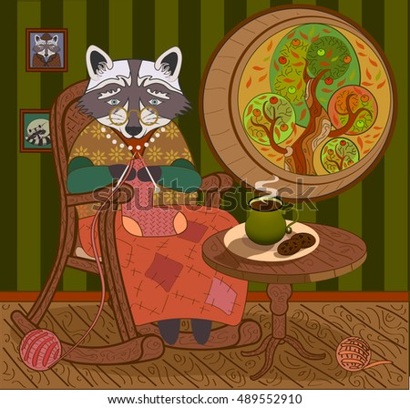 raccoon grandmother cacao cookies autumn