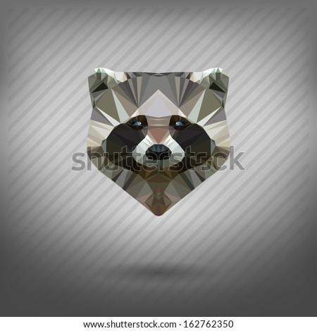 raccoon in the style of origami - stock vector