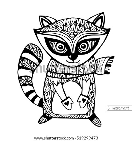 Cute Cartoon Animal Funny Character Vector Black And White