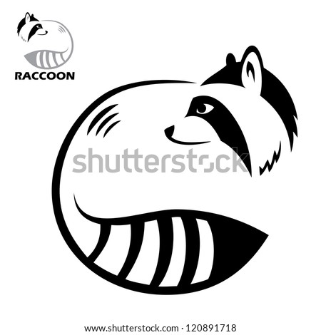 Raccoon label - vector illustration - stock vector Raccoon Face Clip Art Black And White