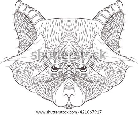 Raccoon outline. Hand drawn in doodle, zenart style. Coloring page design for relaxation and meditation for adults. zentangle
