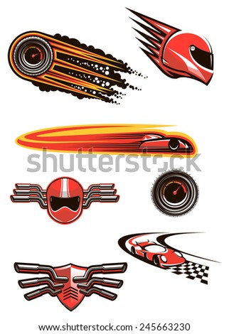 Race and motorsport symbols in red and orange colors with helmet and speedometers in fire flames, racing cars on a checkered roads, motocross helmet and shield on handlebars - stock vector