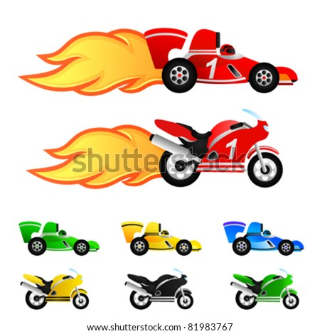 race car and motorcycle. Different colors - stock vector