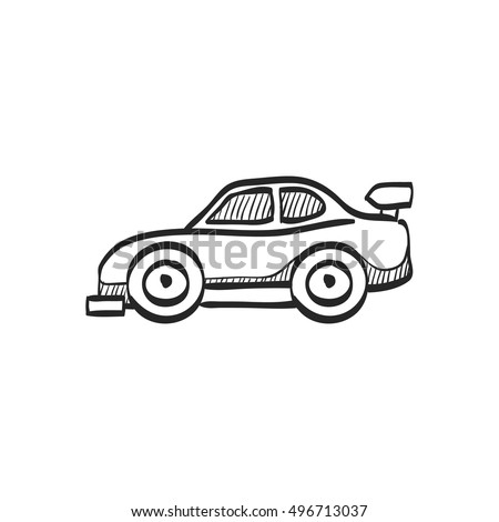 Race car icon in doodle sketch lines. Sport automotive rally speed fast transportation