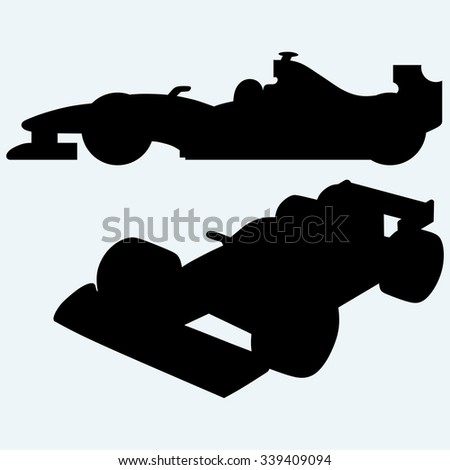Race car. Isolated on blue background. Vector silhouettes