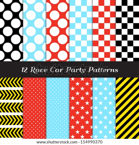 Race Car Theme Seamless Pattern Mix: Blue, Red, Black and Yellow Chevron, Checkerboard, Polka Dots, Stripes and Stars. Pattern Swatches included and made with Global Colors. - stock vector