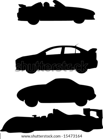 Race Cars - stock vector  Race Car Silhouette