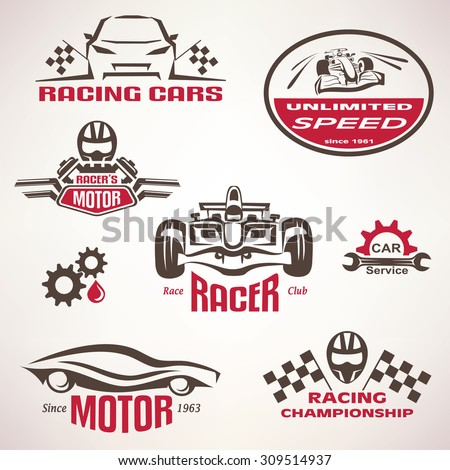 race cars, racing emblem and label set, vector symbols collection