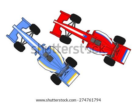 race cars running - stock vector
