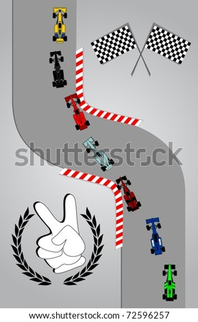 Race cars taking a curve - stock vector