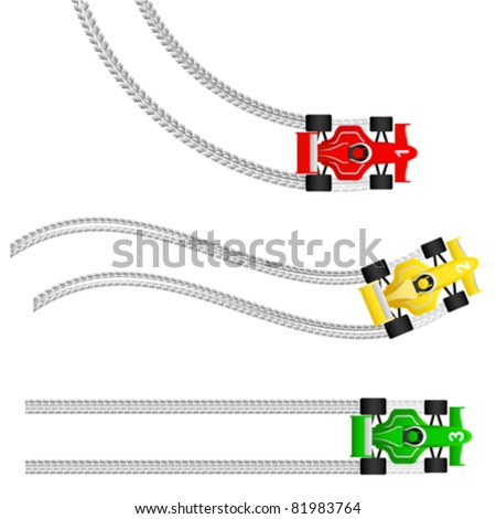 race cars with various tyre treads - stock vector