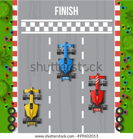 Race Finish Top View Background Vector Illustration