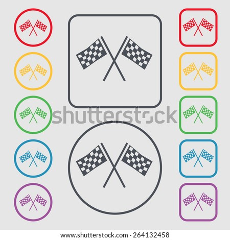 Race Flag Finish icon sign. symbol on the Round and square buttons with frame. Vector illustration - stock vector